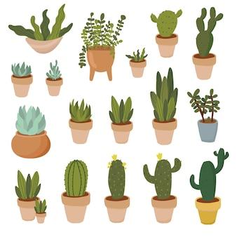 Rośliny domowe ręcznie rysowane zestaw clipartów rośliny domowe w doniczkach soczysty aloes kaktus