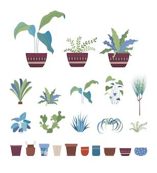 Rośliny doniczkowe kwiaty w doniczkach płaski zestaw ilustracji wektorowych