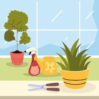 Rośliny doniczkowe narzędzia ogrodnicze