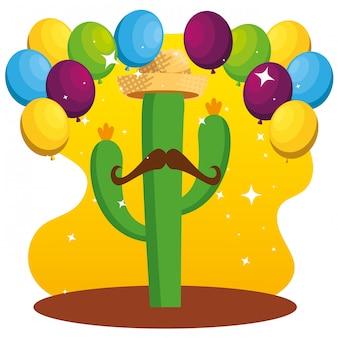 Rośliny kaktusa w kapeluszu i wąsach z balonami