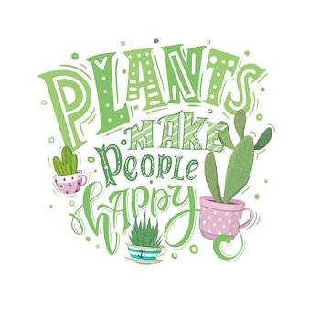 Rośliny Sprawiają, że Ludzie Są Szczęśliwi Premium Wektorów