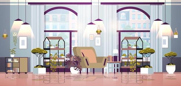 Rośliny szklarniowe doniczkowe kwiaty na półkach dom ogród koncepcja salon wnętrze pozioma ilustracja wektorowa