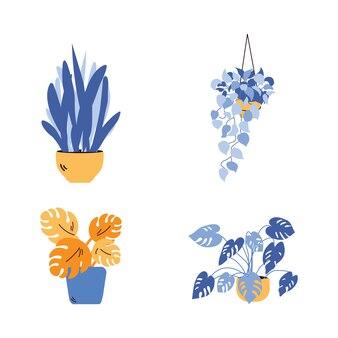Rośliny w doniczkach w żółte i niebieskie odcienie ilustracja kreskówka na białym tle.