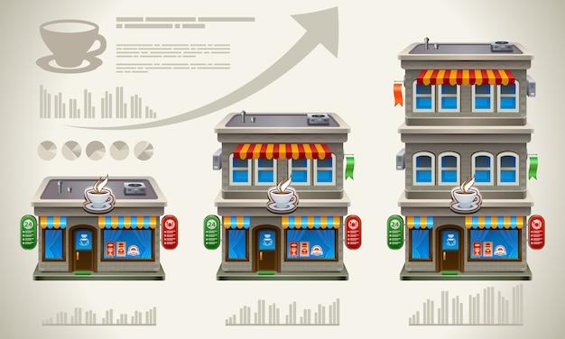 Rosnąca koncepcja biznesowa. statystyki kawiarni lub kawiarni.