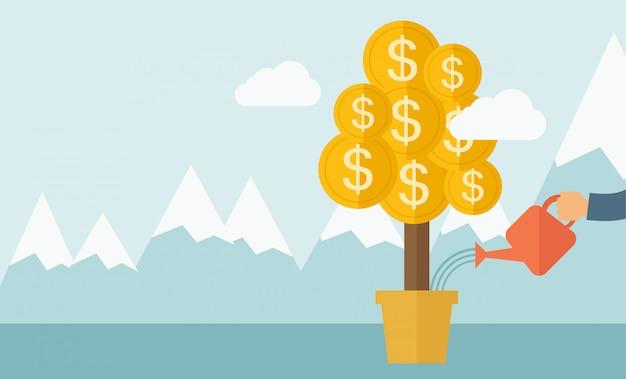 Rosnąca roślina pieniędzy.