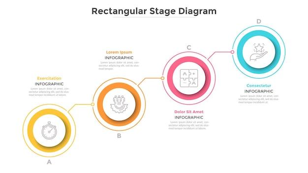 Rosnąca tabela z 4 połączonymi kolorowymi okrągłymi elementami. koncepcja czterech kroków progresywnego rozwoju biznesu. minimalny szablon projektu plansza. ilustracja wektorowa płaski do prezentacji.