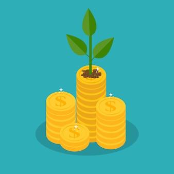 Rosnące drzewo pieniądze z złote monety na gałęzi. bogactwo i sukces w biznesie.