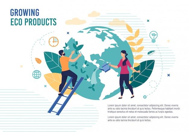 Rosnące produkty ekologiczne plakat zdrowej żywności metafora