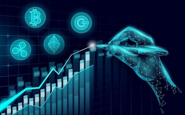 Rosnące zyski cyfrowej kryptowaluty ethereum bitcoin ripple