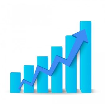 Rosnący niebieski wykres