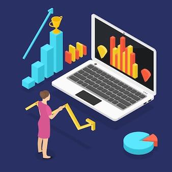 Rosnący wykres statystyk. bizneswoman jest zwycięzcą w izometrii. laptop na ciemnym tle. ilustracja wektorowa.