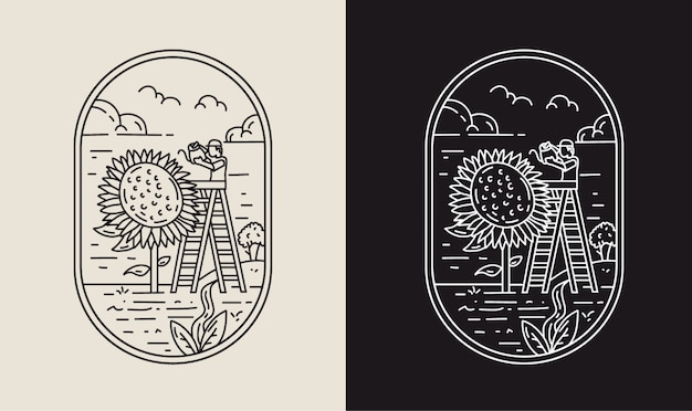 Rośnie z słonecznikami monoline ilustracja