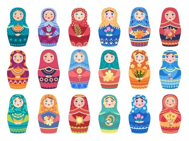 Rosyjska lalka w kolorze. tradycyjne zabawki moskiewskie autentyczne kolorowe dekoracje kwiatowe kobiety lub dziewczyny wektor znaków. rosja narodowa zabawka, ręcznie robiona ozdoba ozdobna ilustracja