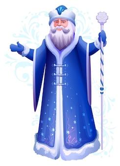 Rosyjski lub ukraiński święty mikołaj mróz w niebieskim wieszaku z lodowym kijem