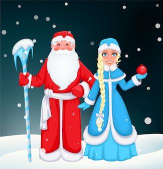 Rosyjski święty mikołaj i snow maiden