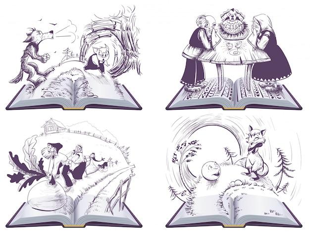 Rosyjskie opowieści ludowe ustawiają ilustrację otwartej książki