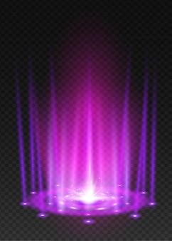 Round fioletowa poświata promieni noc scena