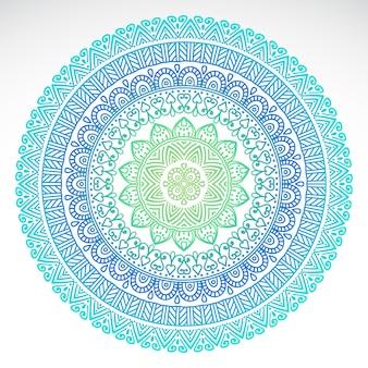 Round gradientowy mandala na białym odosobnionym tle