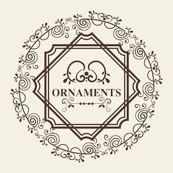 Round ornamentacyjna rama i ornamenty podpisujemy białego tło. ilustracji wektorowych.
