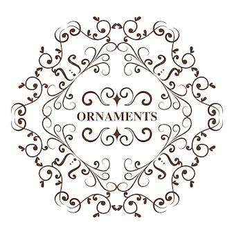 Round ornamentacyjny rama i ornament podpisujemy białego tło. ilustracji wektorowych.
