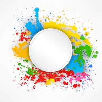 Round zaszywanie papier na kolorowym pluśnięcia tle