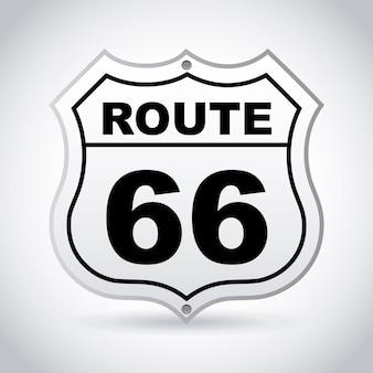 Route 66 etykieta na szarym tle ilustracji wektorowych