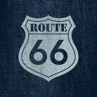 Route 66 - vintage ilustracja znaku drogowego
