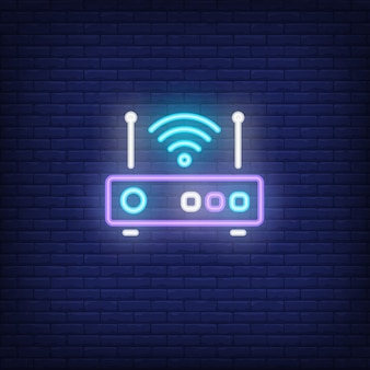 Router z sygnałem neon znak