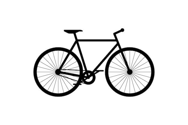 Rower czarny ikona cykl sylwetka znak na białym tle symbol pojazdu transportu miejskiego rower