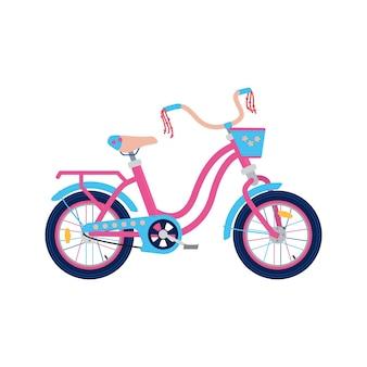 Rower dziecięcy urządzony dla małych dziewczynek mieszkanie na białym tle