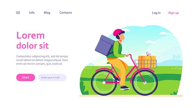 Rower jeździecki kurierski z paczkami. mężczyzna na rowerze przewożący pudełka w szablonie sieci web koszyka i plecaka.