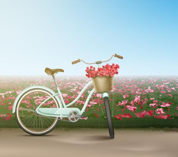 Rower miejski w stylu retro z koszem na kwiaty na białym tle