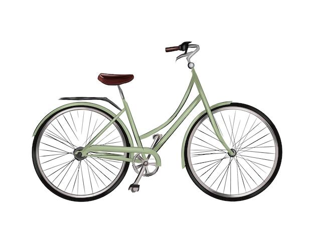 Rower miejski z wielokolorowych farb splash realistycznego rysunku w kolorze akwareli