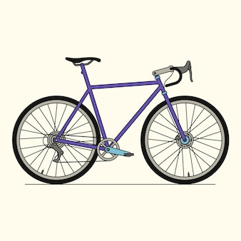Rower sportowy, ikona konturu, białe tło.