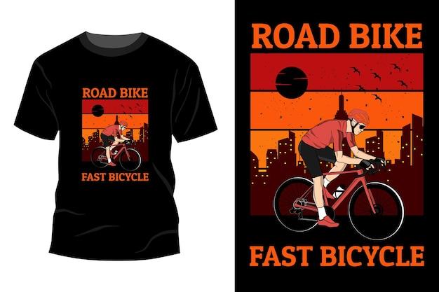 Rower szosowy szybki rower t-shirt makieta design vintage retro