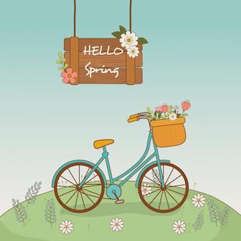 Rower z koszem i kwiatami w krajobrazie