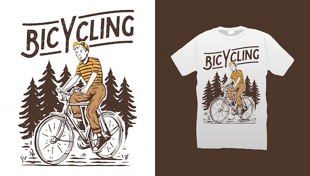 Rowerowa ilustracja projekt koszulki