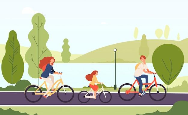 Rowery rodzinne. szczęśliwa rodzic córka jeździć na rowerze bicykle w plenerowym parkowym aktywnym stylu życia bawi się rodzinnego pojęcie