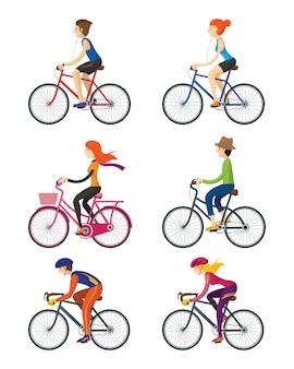 Rowerzyści, mężczyzna, kobieta, ludzie, relaks lub sport
