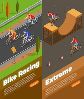 Rowerzyści podczas wyścigów rowerowych i ekstremalnej jazdy zestaw izometrycznych pionowych banerów na białym tle