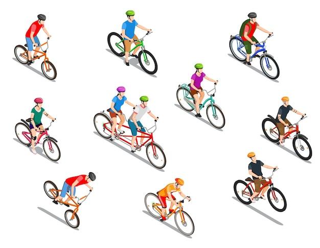 Rowerzyści z hełmami podczas ekstremalnej jazdy tandemowej i turystycznej wycieczki zestaw izometrycznych ikon na białym tle