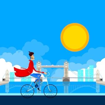 Rowerzysta człowiek przed mostem w londynie. ilustracja wektorowa.