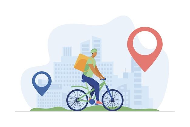 Rowerzysta dostarczający jedzenie klientom w mieście. pin, trasa, miasto płaskie wektor ilustracja. usługa transportu i dostawy