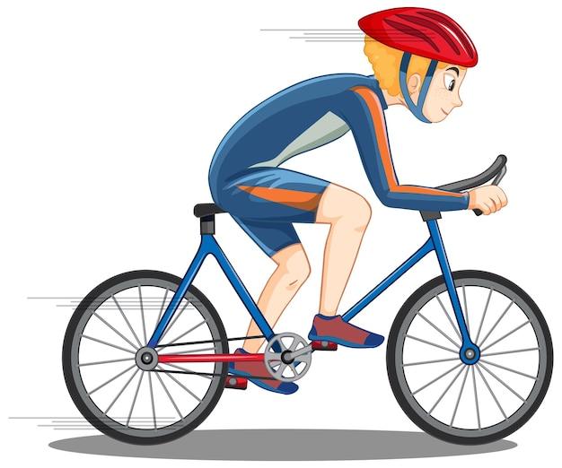Rowerzysta jadący na rowerze na białym tle