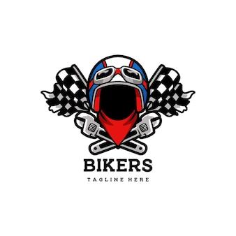 Rowerzysta klub vintage odznaka godło kask motocykl retro