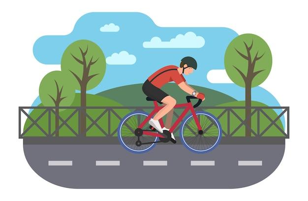 Rowerzysta na ścieżce rowerowej w płaskiej konstrukcji