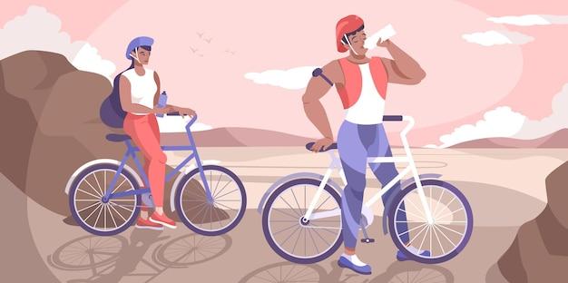 Rowerzysta pije wodę płaską kompozycję z parą na przejażdżce rowerem zatrzymaną na odpoczynek