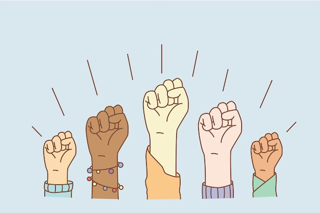 Równe prawa i koncepcja zatrzymania rasizmu. ręce grupy ludzi rasy mieszanej pokazujące pięści oznaczające równość i zatrzymanie dyskryminacji ilustracji wektorowych