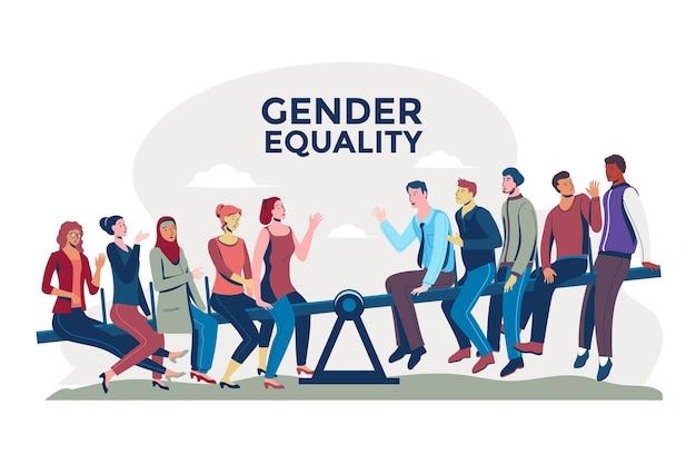 Równość płci ilustracyjny projekt