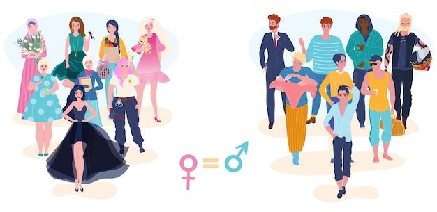 Równość płci, równe prawa kobiet i mężczyzn, szansa w grupach zawodowych mężczyzn i kobiet ilustracja kreskówka.